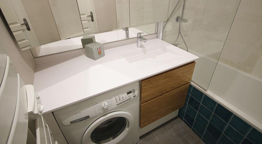 meuble de salle de bain avec lave linge intégré  l
